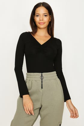 BLACK RUCHED FRONT LONG SLEEVE BODY
