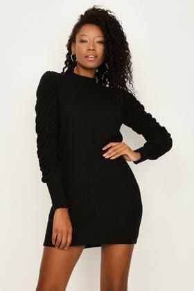 BLACK RUCHING SLEEVE TUNIC DRESS