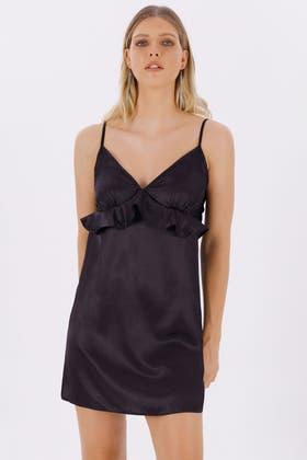 BLACK SATIN FRILL NIGHT DRESS