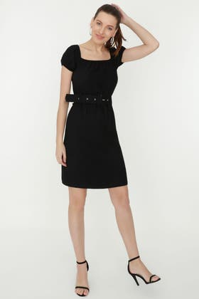 BLACK SELF BELTED BARDOT LINEN DRESS