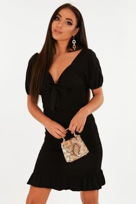 BLACK Shirred mini dress with puff sleeve