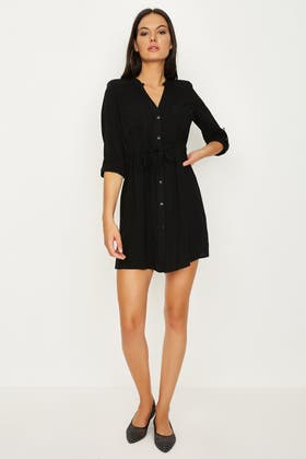 BLACK SHOULDER PAD VISCOSE SHIRT DRESS