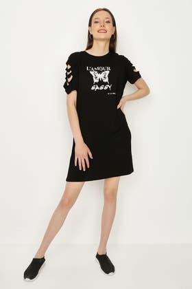 BLACK SLOGAN DISTRESSED T-SHIRT DRESS