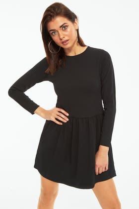 BLACK SMOCK SWEAT DRESS