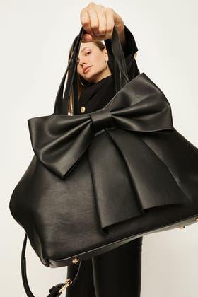 BLACK SOFT BOW HANDHELD BAG