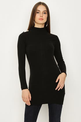 BLACK SOFT TOUCH BUTTON DETAIL TUNIC