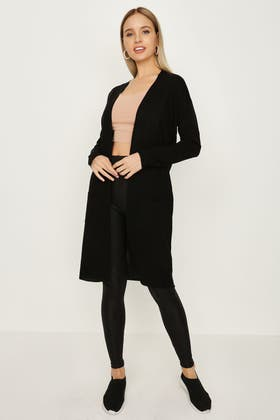 BLACK SOFT TOUCH LONG CARDIGAN
