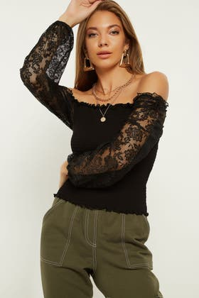 BLACK SQUARE NECK SHIRRED PUFF SLEEVE TOP