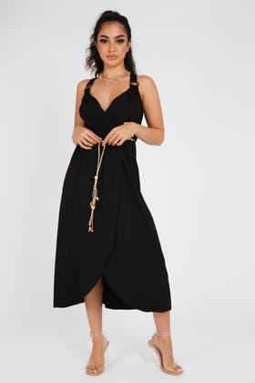 BLACK Strappy Midi Dress With Tie Detail
