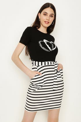BLACK STRIPE BOTTOM T-SHIRT DRESS