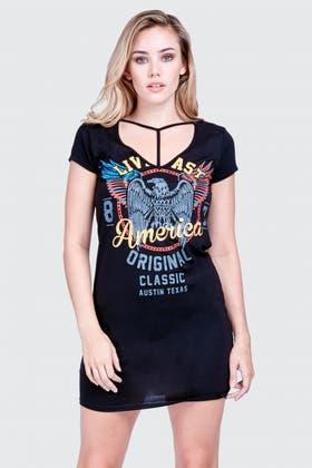 BLACK T-BAR CHOKER ROCK TEE DRESS