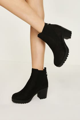 BLACK TAPE CLEATED CHELSEA ANKLE BOOT