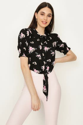 BLACK TIE FRONT DITSY NECK DETAIL SHIRT
