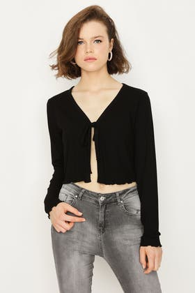 BLACK TIE FRONT RIBBED TOP