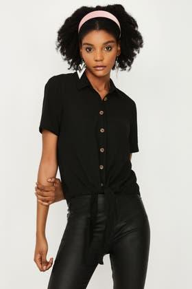 BLACK TIE FRONT WOVEN SHIRT
