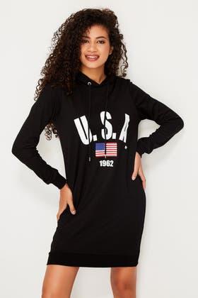 BLACK USA PONTE HOODIE SWEAT DRESS