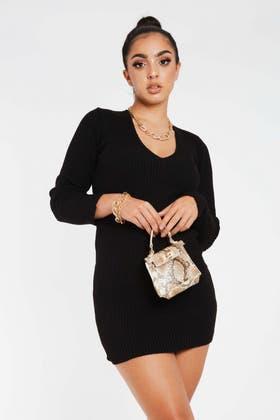 BLACK V NECK KNITTED RIB TUNIC DRESS