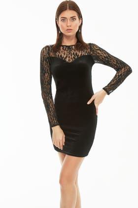 BLACK VELVET LACE MIX BODYCON DRESS