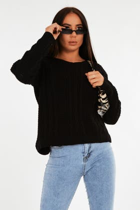 BLACK Waffle Cable Stich Jumper