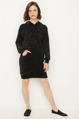 BLACK WASHED PLAIN HOODIE DRESS