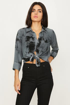 BLACK WASHED TIE FRONT SHIRT