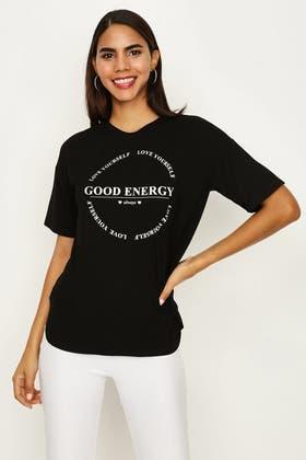 BLACK-WHITE GOOD ENERGY SLOGAN TEE