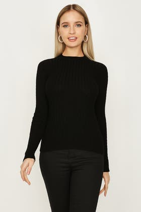 BLACK WIDE RIB AND CABLE FUNNEL NECK JUMPER