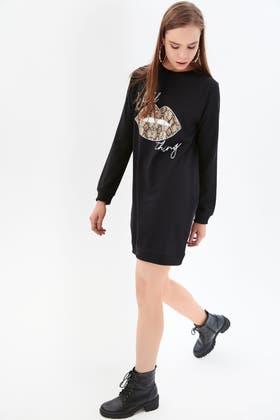 BLACK WILD THING PRINTED SWEAT DRESS