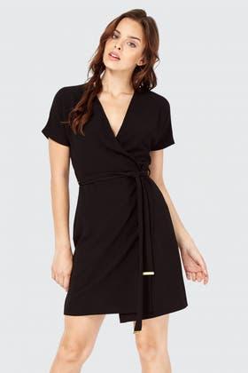 BLACK WRAP BELTED DRESS