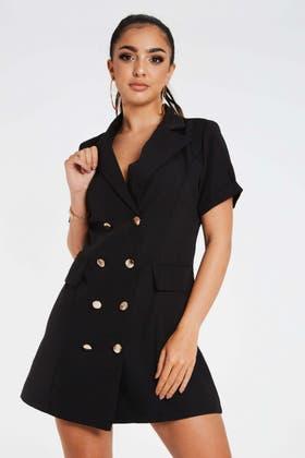 BLACK Wrap Buckle detail Blazer Dress
