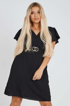 BLACK Wrap Mini Dress With Gold Buckle Detail