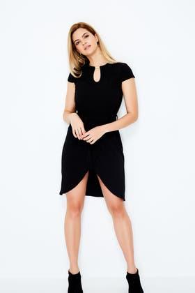 BLACK WRAP TRIM DETAIL CREPE DRESS