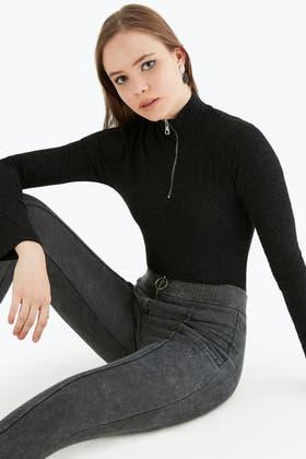 BLACK ZIP NECK HIGH NECK BODY