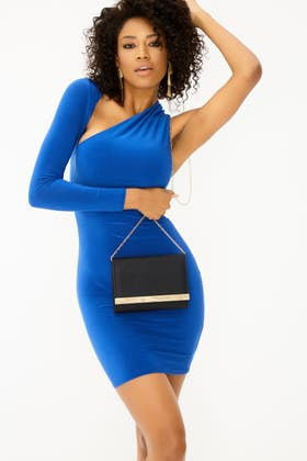 ROYAL BLUE Asymmetric One Sleeve Cut Out Dress