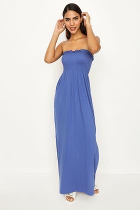 BLUE BANDEU SHIRRED SPLIT MAXI DRESS