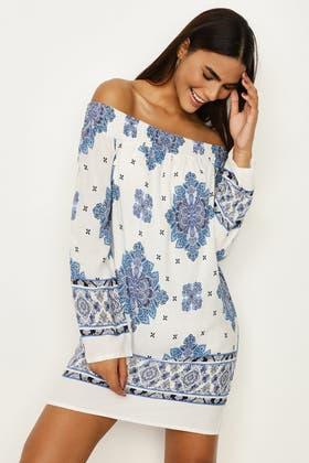 BLUE BORDER PAISLEY BARDOT DRESS