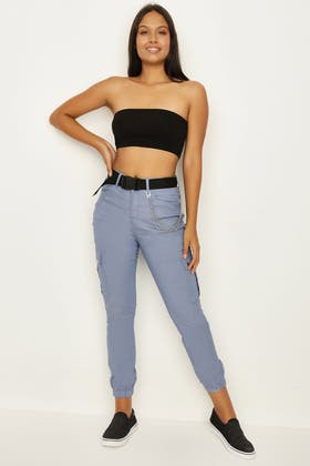 BLUE CHAIN CARGO TROUSER WITH BELT