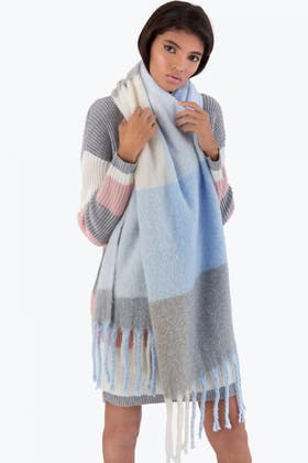 BLUE CHECK HEAVY WEIGHT SCARF