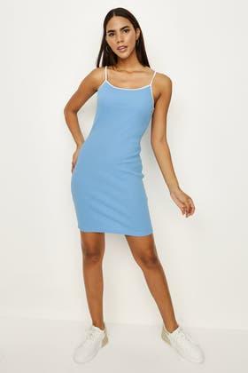 BLUE CONTRAST STRAPPY BODYCON DRESS