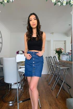 DENIM Mini Skirt With Back Pocket Embriodery
