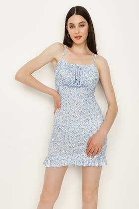 BLUE DITSY MIILKMAID JERSEY DRESS
