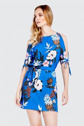 BLUE FLORAL CREPE TEA DRESS