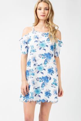 BLUE FLORAL CUT OUT SWING DRESS