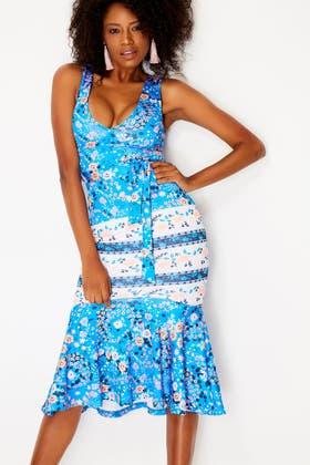 BLUE Floral Plunge Neck Midi Dress