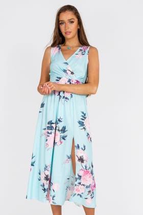 BLUE FLORAL PRINT SPLIT THIGH MAXI DRESS
