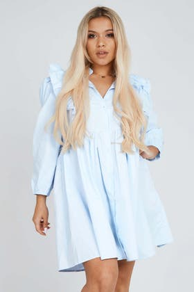 BLUE Frill Detail Collared Dress