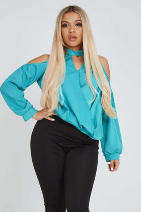 BLUE Halter Neck Long Sleeve Shirt