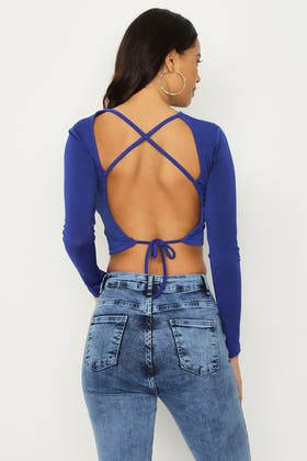 BRIGHT BLUE LACE UP BACK CROP