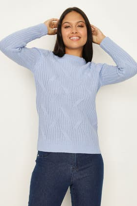 BLUE LARGE CABLE KNIT JUMPER