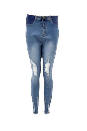 DENIM Maternity High Waisted Destroyed Hem Skinny Jeans